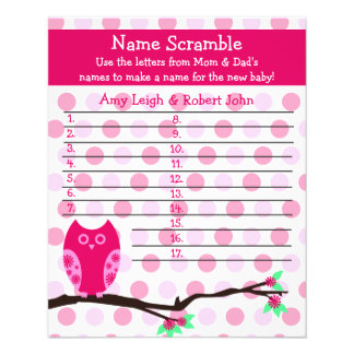 Pink Owl Baby Shower Personalized Game Flyers