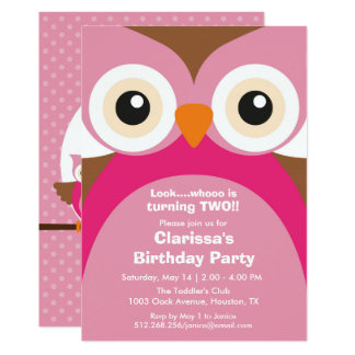 Pink Owl Birthday Party Invitation