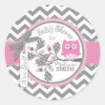 Pink Owl Chevron Print Baby Shower Round Sticker