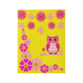 Pink owl children's bedroom playroom poster