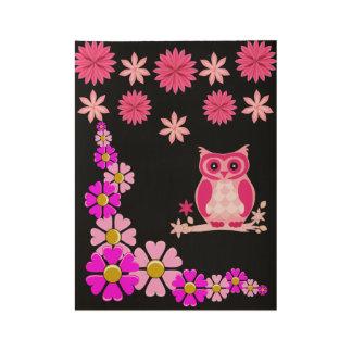 Pink owl children's bedroom playroom poster black