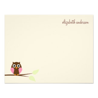 Pink Owl Custom Flat Thank You Cards Personalized Invite