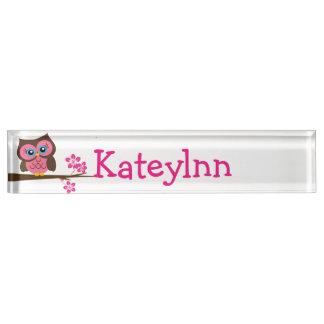 Pink Owl Custom Monogram Name Plate