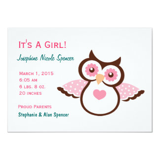 Pink Owl Girl's Birth Announcement