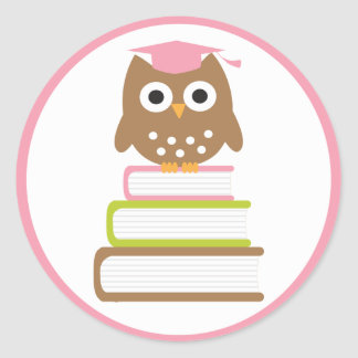 Pink Owl Graduation Envelope Seals