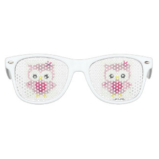 Pink Owl Graphic Kids Retro Party Sunglasses