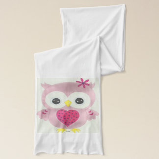 Pink Owl Graphic Scarf