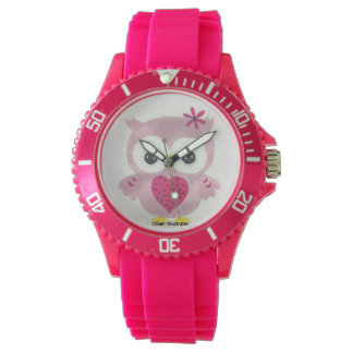 Pink Owl Graphic Watch