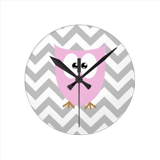 Pink Owl Grey Chevron Nursery Bedroom Round Clock