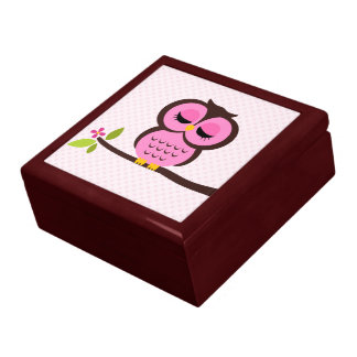 Pink Owl Illustration Large Square Gift Box
