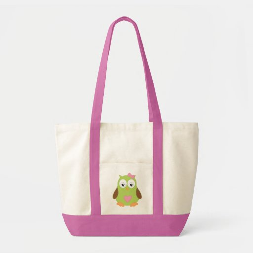 Pink, owl, Impulse Tote Bags