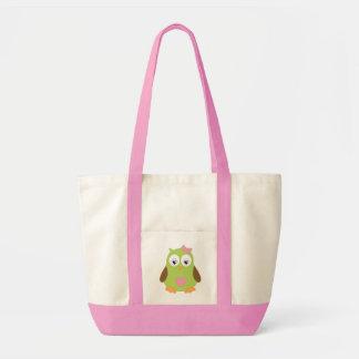 Pink owl Impulse Tote Bags