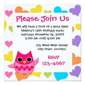 "Pink Owl 5.25"" Square Invitation Card"