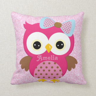Pink Owl Keepsake Cushion Baby Gift