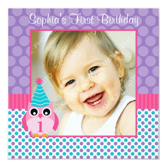 Pink Owl Multi Polka Dot 1st Birthday Girl Photo Card