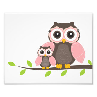 Pink Owl Nursery Wall Art for Girl Poster Photo Print