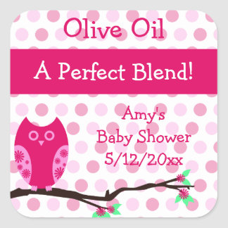 Pink Owl Olive Oil Personalized Favor Labels Square Sticker