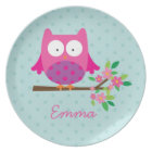 Pink Owl on a Branch Personalised Melamine Plate