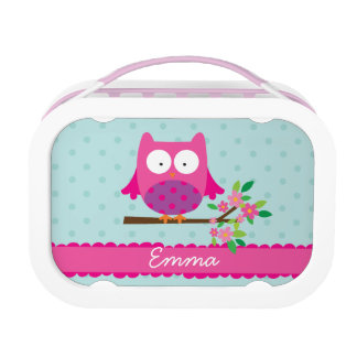 Pink Owl on a branch Personalized Lunch Box
