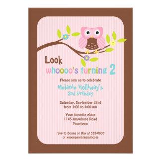 Pink Owl on Branch Child s Birthday Invitation