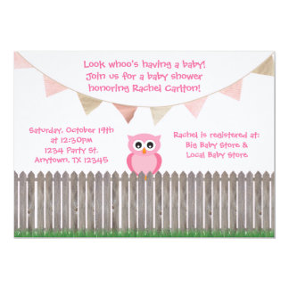 "Pink Owl on Fence Baby Shower Invitation 5"" X 7"" Invitation Card"
