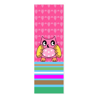 Pink owl on stripes business card