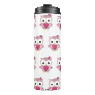 Pink Owl Pattern Thermal Tumbler