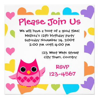 Pink Owl Personalized Announcement