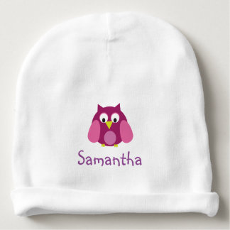 Pink Owl Personalized Hat Baby Beanie