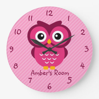 Pink Owl Personalized Kids Bedroom Large Clock
