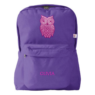 Pink Owl Personalized Name Cute Girly Sequins Look Backpack