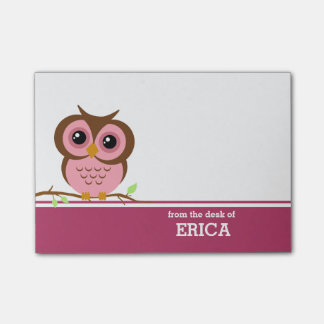 Pink Owl Personalized Post-it Notes
