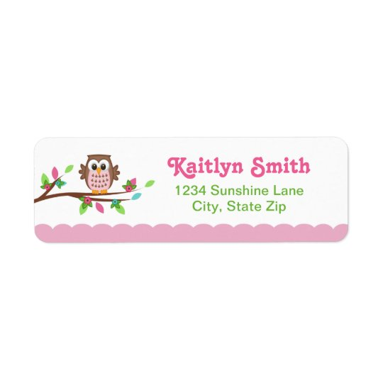 Pink Owl Return Address Label