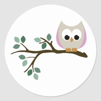 Pink Owl Stickers
