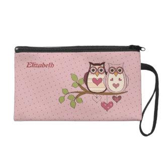 Pink Owl Sweethoots Wristlet Bag