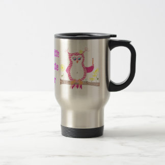 Pink owl teacher travel mug