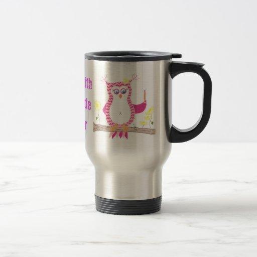 Pink owl teacher travel mug