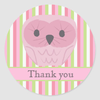 Pink Owl Thank You Label Sticker