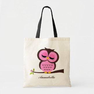 Pink Owl Tote Bag