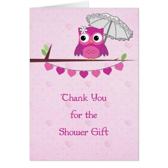 Pink Owl, Umbrella, Bridal Shower Thank You Card