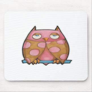 Pink Owl white Mousepad