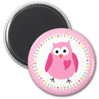 Pink owl with heart and colourful polka dot border refrigerator magnets