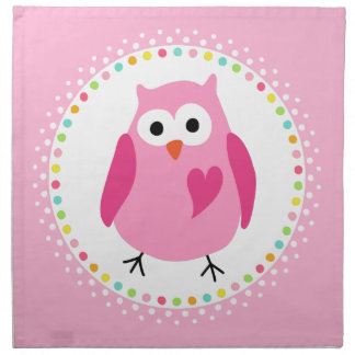 Pink owl with heart and colourful polka dot border napkins