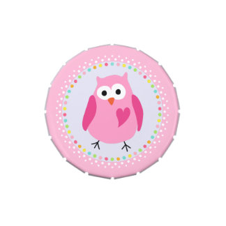 Pink owl with heart and colourful polka dot border candy tins