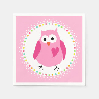 Pink owl with heart and colourful polka dot border disposable napkin