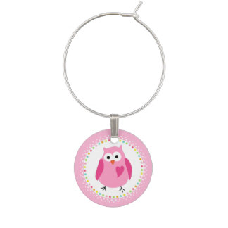 Pink owl with heart and colourful polka dot border wine charm