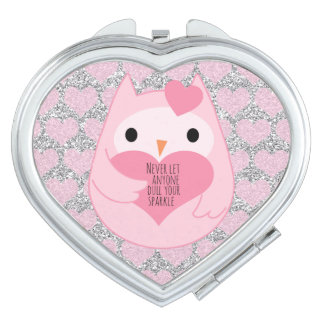 Pink Owl with Silver Sparkles and Quote Compact Mirror