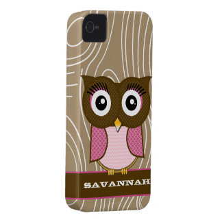 Pink Owl Wood Grain Zig Zag Choose Colors iPhone 4 Case