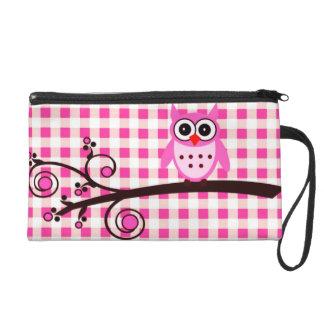 Pink Owl Wristlet