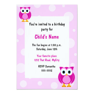 Pink Owls Children's Birthday Invitation